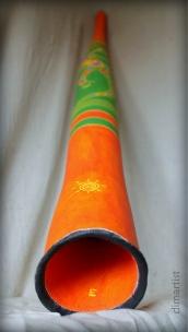 """Didgeridoo """"Lizard big"""" Height: 146 cm. Diameter mouthpiece: 2,9 cm. Diameter basic: 9 cm. Diameter of the bell: 11,5 cm. Material: Plastic. Key: E https://dimartist.wordpress.com/didgeridoo-catalog/"""